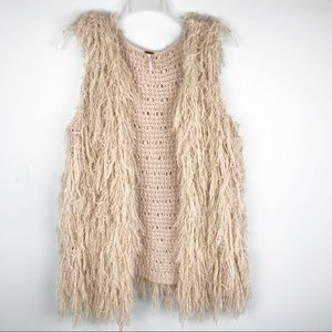 Free People Faithful Shaggy Cardigan Vest